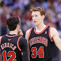 24 November 2013: Chicago Bulls shooting guard Kirk Hinrich (12) talks to Chicago Bulls small forward Mike Dunleavy (34) during the Los Angeles Clippers 121-82 victory over the Chicago Bulls at the Staples Center, Los Angeles, California, USA.