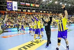 Players of RK Celje Pivovarna Lasko during handball match between RK Celje Pivovarna Lasko (SLO) and KS Viive Tauron Kielce (POL) in Group phase of EHF Men's Champions League 2016/17, on February 19, 2017 in Arena Zlatorog, Celje, Slovenia. Photo by Grega Valancic