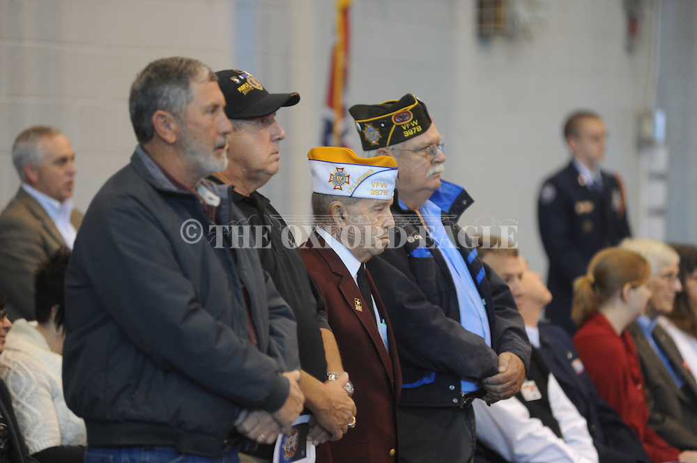 Veterans are recognized at a Veterans Day program at Lafayette High School in Oxford, Miss. on Thursday, November 7, 2013.