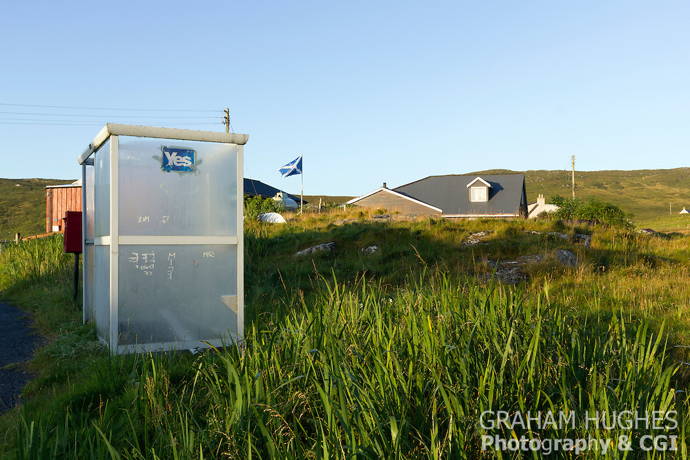 Isle Of Barra, Outer Hebrides, Yes Sticker On Bus Shelter. Scottish Saltire Flag In Background.