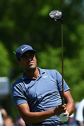May 2, 2019 - Charlotte, NC, U.S. - CHARLOTTE, NC - MAY 02: Tony Finau keeps his eye on the ball down the fairway on hole 1 during round one of the Wells Fargo Championship on March 02, 2019 at Quail Hollow Club in Charlotte,NC. (Photo by Dannie Walls/Icon Sportswire) (Credit Image: © Dannie Walls/Icon SMI via ZUMA Press)