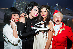The Hubs, Hallam Union, Paternoster Row plays host to Sheffield's biggest Fancy Dress Ball. More than 900 people in fancy dress to raise money for Cancer Research on Saturday night .Katie Gothard (Uma Therman Pulp Fiction) Claire Storey (Edward Scissorhands) Ellie Stokes...6 April  2013.Image © Paul David Drabble