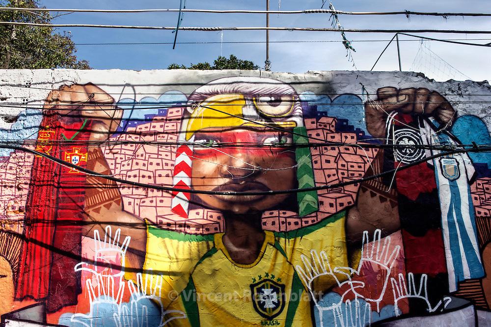 Graffiti / street art before the World Cup in Brazil, in the favela Pavãozinho, Copacana, zona sul of Rio de Janeiro