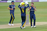 Liam Dawson and Tom Alsop of Hampshire celebrates the wicket of Jake Lehmann during the Royal London One Day Cup semi-final match between Hampshire County Cricket Club and Lancashire County Cricket Club at the Ageas Bowl, Southampton, United Kingdom on 12 May 2019.
