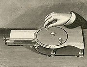 Adolphe Eggis's 'Velographe' of 1886.:  Each letter  of the alphabet on uderside of disk had to brought into position  by moving the disk.  Engraving