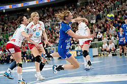 Daniela De Oliveira Piedade #5 of Krim during handball match between RK Krim Mercator (SLO) and Larvik HC (NOR) in second game of semi final of EHF Women's Champions League 2012/13 on April 13, 2013 in Arena Stozice, Ljubljana, Slovenia. (Photo By Urban Urbanc / Sportida)