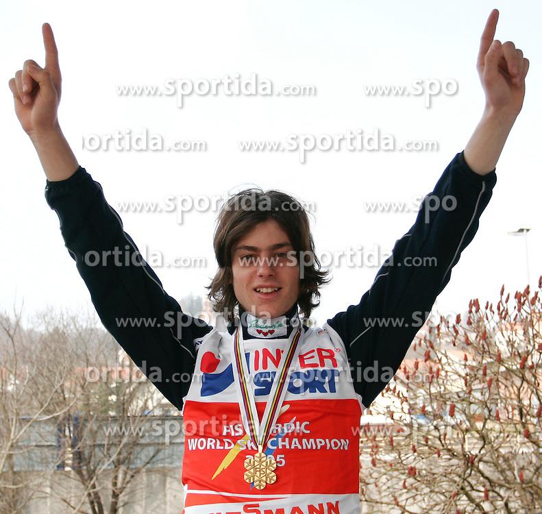 Rok Benkovic of Slovenia, World Ski Jumping Champion 2005 in Oberstdorf at his home in Kamnik, on March 24, 2005 in Kamnik, Slovenia. (Photo By Vid Ponikvar / Sportida.com)