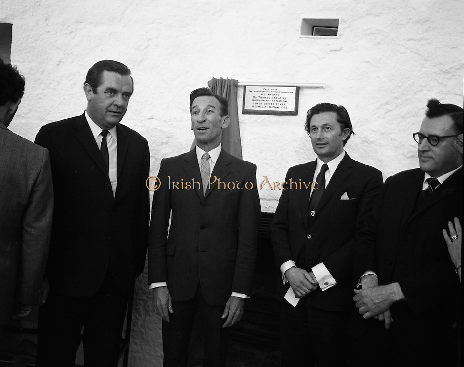 """Bloomsday at Joyce Tower,Sandycove..1972..16.06.1972..06.16.1972..16th June 1972..As part of the Bloomsday celebrations,Joyce Tower,Sandycove was renovated and opened to the public.The tower is an important part of the novel """"Ulysses"""" written by James Joyce.The celebration in part is organised by the Eastern Regional Tourism Organisation..Image of.Mr P.J.Power,Chairman,E.R.T.C., .Mr Thomas Keating and .Mr P.J.Long,Manager,ERTC as they pose in front of the plaque."""