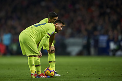 November 24, 2018 - Madrid, Madrid, Spain - Lionel Messi and Luis Suarez of Barcelona talking during the week 13 of La Liga match between Atletico Madrid and FC Barcelona at Wanda Metropolitano Stadium in Valencia, Spain on November 24, 2018. (Credit Image: © Jose Breton/NurPhoto via ZUMA Press)