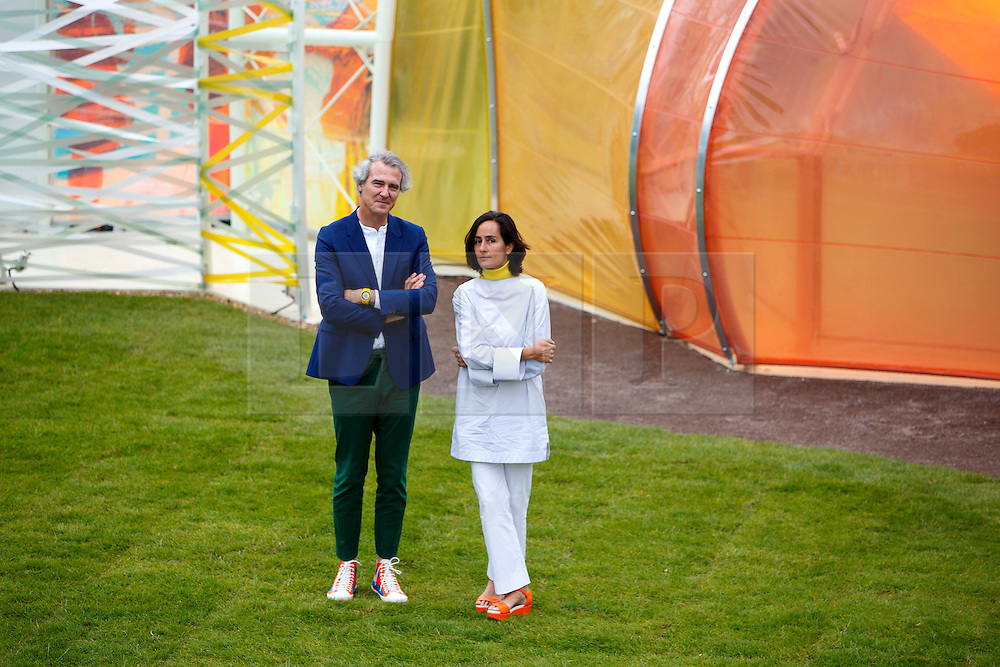 © Licensed to London News Pictures. 22/06/2015. London, UK. Architects Josè Selgas and Lucía Cano posing with their design for the Serpentine Pavilion 2015 during the press view at Serpentine Gallery in Hyde Park, London on Monday, June 22, 2015. Photo credit: Tolga Akmen/LNP