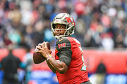 Tampa Bay Buccaneers Quarterback Jameis Winston (3) looks to throw during the International Series match between Tampa Bay Buccaneers and Carolina Panthers at Tottenham Hotspur Stadium, London, United Kingdom on 13 October 2019.