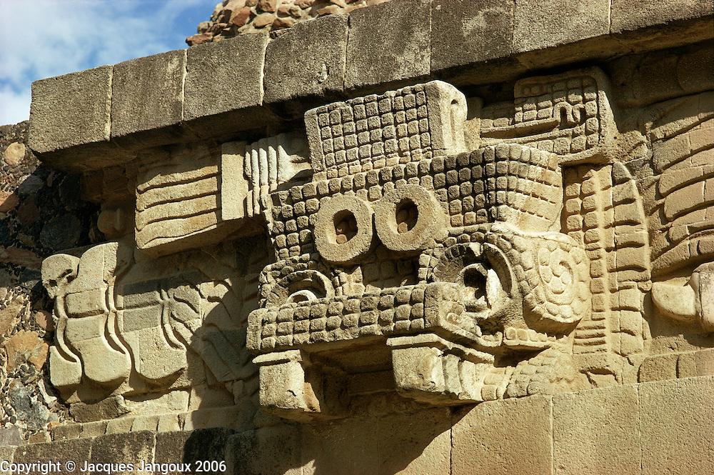 Head of rain god Tlaloc, at ruins of Quetzalcoatl temple or pyramid , Teotihuacan culture, Mexico.