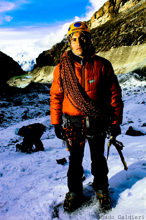 Peruvian mountain guide Carlos Callupe poses for a photo at the White Mountain range  near Huaraz, Peru, Saturday, Jan. 15, 2011.(Photo Dado Galdieri)