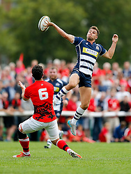 Bristol Rugby Full Back Jack Wallace goes for a highball as London Welsh Flanker Dan Leo challenges - Mandatory byline: Rogan Thomson/JMP - 07966 386802 - 13/09/2015 - RUGBY UNION - Old Deer Park - Richmond, London, England - London Welsh v Bristol Rugby - Greene King IPA Championship.