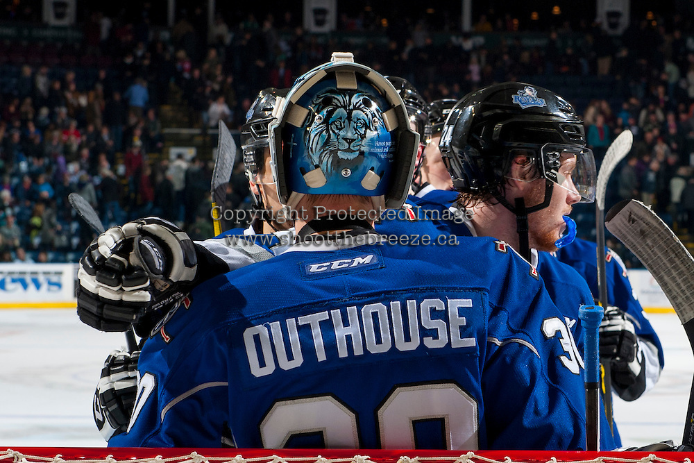KELOWNA, CANADA - DECEMBER 30: Griffen Outhouse #30 of the Victoria Royals is congratulated on the win against the Kelowna Rockets on December 30, 2016 at Prospera Place in Kelowna, British Columbia, Canada.  (Photo by Marissa Baecker/Shoot the Breeze)  *** Local Caption ***