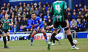Aaron Amadi-Holloway shoots and scores 1-0 during the Sky Bet League 1 match between Oldham Athletic and Rochdale at Boundary Park, Oldham, England on 19 March 2016. Photo by Daniel Youngs.
