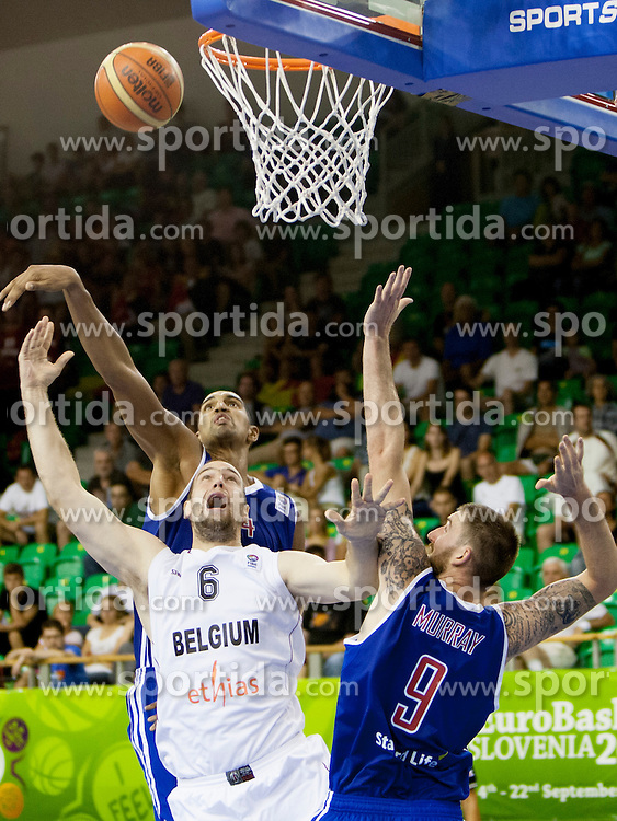 Gareth Murray #9 of Great Britain and Christophe Beghin #6 of Belgium during basketball match between National teams of Belgium and Great Britain at Day 3 of Eurobasket 2013 on September 6, 2013 in Tivoli Hall, Ljubljana, Slovenia. (Photo By Urban Urbanc / Sportida )
