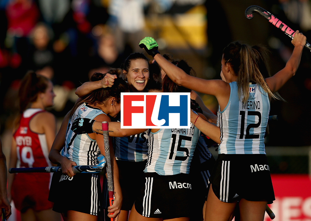 JOHANNESBURG, SOUTH AFRICA - JULY 14: Martina Cavallero of Argentina celebrates scoring their teams second goal with teammates during day 4 of the FIH Hockey World League Semi Finals Pool B match between the United States and Argentina at Wits University on July 14, 2017 in Johannesburg, South Africa. (Photo by Jan Kruger/Getty Images for FIH)