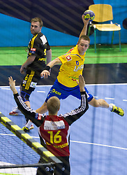Gasper Marguc of Celje during handball match between RK Celje Pivovarna Lasko and IK Savehof (SWE) in 3rd Round of Group B of EHF Champions League 2012/13 on October 13, 2012 in Arena Zlatorog, Celje, Slovenia. (Photo By Vid Ponikvar / Sportida)