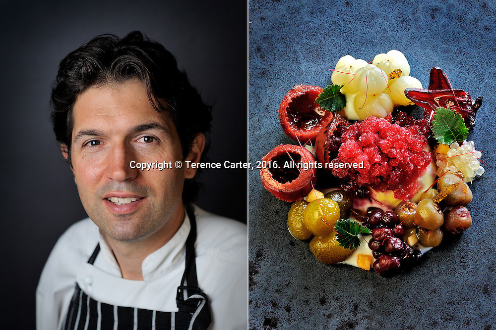 Attica, Melbourne, Victoria, Australia. Ben Shewry (L), native fruits of Australia (R). Copyright 2016 Terence Carter / Grantourismo. All Rights Reserved.