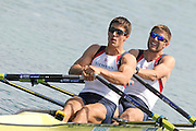 Munich, GERMANY,  Friday Heats Men's Double sculls GBR M2X bow Bill LUCAS and Sam TOWNSEND. 2012 World Cup III on the Munich Olympic Rowing Course,  Friday   15/06/2012. [Mandatory Credit Peter Spurrier/ Intersport Images]..