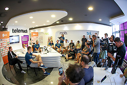 Jaka Lenart, Klemen Prepelic, Raso Nesterovic, Igor Kokoskov, Luka Doncic and Sasa Zagorac at press conference of Slovenian national team before Eurobasket 2017, on August 28, 2017 in Telemach, Ljubljana, Slovenia. Photo by Matic Klansek Velej / Sportida