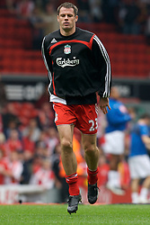 Liverpool, England - Sunday, October 7, 2007: Liverpool's Jamie Carragher warms-up before the Premiership match against Tottenham Hotspur at Anfield. (Photo by David Rawcliffe/Propaganda)