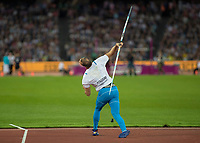 Athletics - 2017 IAAF London World Athletics Championships - Day Nine, Evening Session<br /> <br /> Mens Javelin Final<br /> <br /> Tero Pitkamaki (Finland) launches the javelin at the London Stadium<br /> <br /> COLORSPORT/DANIEL BEARHAM