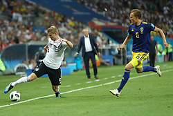 SOCHI, June 23, 2018  Timo Werner (L) of Germany vies with Ludwig Augustinsson of Sweden during the 2018 FIFA World Cup Group F match between Germany and Sweden in Sochi, Russia, June 23, 2018. (Credit Image: © Fei Maohua/Xinhua via ZUMA Wire)