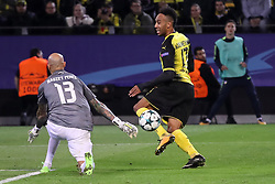 DORTMUND, Nov. 02, 2017  Pierre-Emerick Aubameyang (R) of Borussia Dortmund competes during the UEFA Champions League Group H soccer match between Borussia Dortmund and APOEL Nicosia in Dortmund, Germany on Nov. 1, 2017. The match ended with a 1-1 tie. (Credit Image: © Joachim Bywaletz/Xinhua via ZUMA Wire)