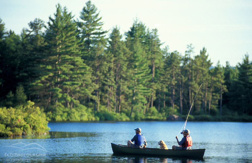 Freedom, NH.Fly-fishing from a canoe in Trout Pond.  Part of future town forest.