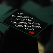 Wilmington University Student seen wearing a custom cap during Wilmington University commencement exercise Sunday, May 17, 2015, at Chase Center On The Riverfront in Wilmington Delaware.