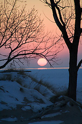 Sun setting over Lake Michigan in the winter, with trees and small dunes in foreground