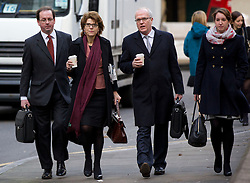 © Licensed to London News Pictures. 04/02/2013. London, UK. Economist Vicky Pryce (second L) arrives at Southwark Crown Court in London today (04/02/13) at the start of a hearing where she faces charges of perverting the course of justice involving her ex-husband Chris Huhne and a 2003 speeding case. Photo credit: Matt Cetti-Roberts/LNP