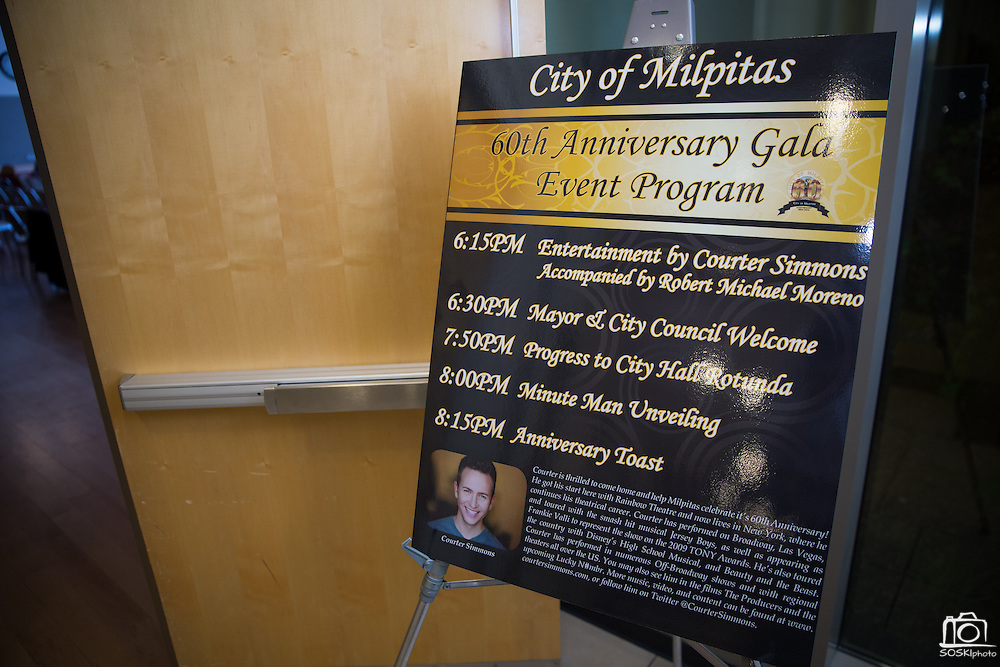 Guests enjoy live music, horderves, and the unveiling of the Milpitas Minute Man sculpture during the City of Milpitas 60th Anniversary Gala at Milpitas City Hall in Milpitas, California, on January 25, 2014. (Stan Olszewski/SOSKIphoto)
