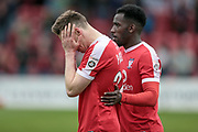 Danny Parslow (York City) is in tears and consoled by one of his own team mates during the Vanarama National League match between York City and Forest Green Rovers at Bootham Crescent, York, England on 29 April 2017. Photo by Mark PDoherty.