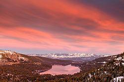 """Donner Lake Sunset 44"" - Winter photograph of Donner lake in Truckee, California shot at sunset."