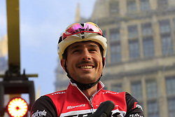 John Degenkolb (GER) Trek-Segafredo on stage at the team presentation in Antwerp before the start of the 2019 Ronde Van Vlaanderen 270km from Antwerp to Oudenaarde, Belgium. 7th April 2019.<br /> Picture: Eoin Clarke | Cyclefile<br /> <br /> All photos usage must carry mandatory copyright credit (© Cyclefile | Eoin Clarke)