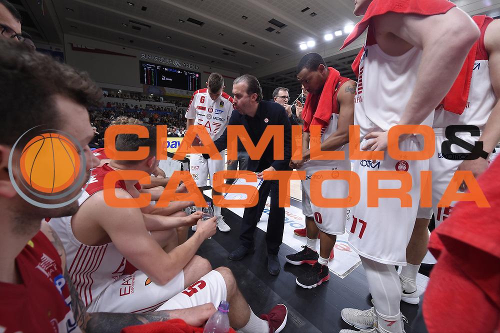 time out  team Milano ,  Simone Pianigiani <br /> Dolomiti Energia Trento - EA7 Emporio Armani Playoff Finale gara 6<br /> Legabasket serieA 2017-2018<br /> Trento 15/06/2018<br /> Foto GiulioCiamillo/Ciamillo-Castoria