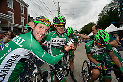 EDUARD PRADES of Spain, celebrates with teammates of team Caja Rural-Seguros, celebrates his victory in the 2016 Philadelphia Cycling Classic UCI 1.1 Men's America Tour  on Sunday June 5th 2016, in Philadelphia Pennsylvania.