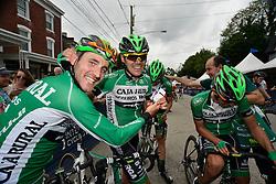 EDUARD PRADES of Spain, celebrates with teammates of team Caja Rural-Seguros, celebrates his victory in the 2016 Philadelphia Cycling Classic UCI 1.1 Men's America Tour  on Sunday June 5th 2016, in Philadelphia Pennsylvania.