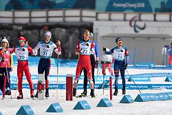 SATO Keiichi JPN LW8, ULSET Nils-Erik NOR LW3, ARENDZ Mark CAN LW6, DAVIET Benjamin FRA LW2 competing in the ParaBiathlon, Para Biathlon at  the PyeongChang2018 Winter Paralympic Games, South Korea.