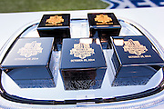 SAN FRANCISCO, CA - APRIL 18:  San Francisco Giants World Series rings are displayed in their boxes on a sliver platter for the Giants World Series ring ceremony at AT&T Park on Saturday, April 18 2015 in San Francisco, California. Photo by Jean Fruth