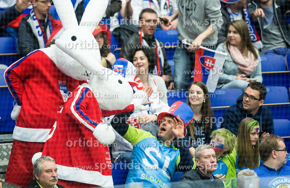 Official mascots Bob and Bobek with Slovenian fans during Ice Hockey match between Norway and USA at Day 2 in Group B of 2015 IIHF World Championship, on May 2, 2015 in CEZ Arena, Ostrava, Czech Republic. Photo by Vid Ponikvar / Sportida