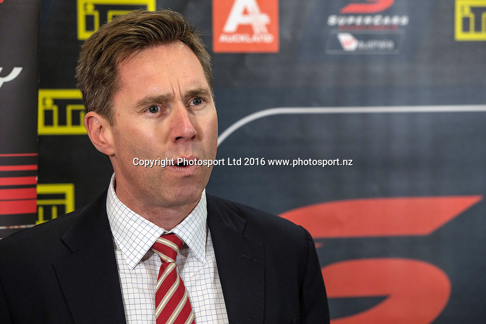 Matt Braid, Managing Director Supercars Australia speaking at the ITM Auckland SuperSprint (Supercars Australia) launch at Formula E Karting, Auckland, New Zealand on Thursday, July 14, 2016. Copyright photo: David Rowland / www.photosport.nz