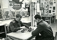 Playing chess. A scene from the Moscow military trade school in Leningrad during the Soviet Union. ..Russian military school at the Leningrad State University in 1969 which was celebrating 100 years of the birth of Lenin.