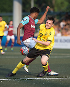 HKFC Citibank Soccer sevens Cup final Aston Villa vs West Ham United. Aston Villa take the cup. West Ham's JAHMAL HECTOR-INGRAM (L) clashes with Aston Villas's MITCH CLARK