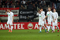 18.02.2016, WWKArena, Augsburg, GER, UEFA EL, FC Augsburg vs FC Liverpool, Sechzehntelfinale, Hinspiel, im Bild Ragnar Klavan ( FC Augsburg ) Konstantinos Stafylidis ( FC Augsburg ) Ja-Cheol Koo ( FC Augsburg ) Alexander Esswein ( FC Augsburg ) Paul Verhaegh ( FC Augsburg ) nach dem 0:0, // during the UEFA Europa League Round of 32, 1st Leg match between FC Augsburg and FC Liverpool at the WWKArena in Augsburg, Germany on 2016/02/18. EXPA Pictures © 2016, PhotoCredit: EXPA/ Eibner-Pressefoto/ Langer<br /> <br /> *****ATTENTION - OUT of GER*****