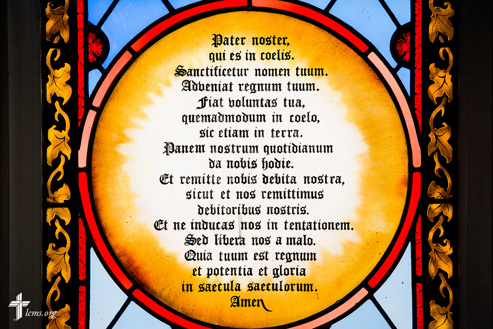 Stained glass with the Lord's Prayer in Latin at St. Thomas Lutheran Church, Baltimore, on Saturday, March 24, 2018. LCMS Communications/Erik M. Lunsford