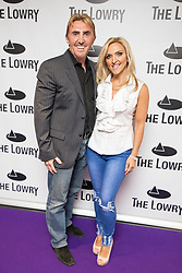 © Licensed to London News Pictures . 30/08/2017 . Salford , UK . Nik and Eva Speakman . Purple carpet photos of celebrities, actors and invited guests arriving for the press night of the musical comedy , Addams Family , at the Lowry Theatre . Photo credit : Joel Goodman/LNP